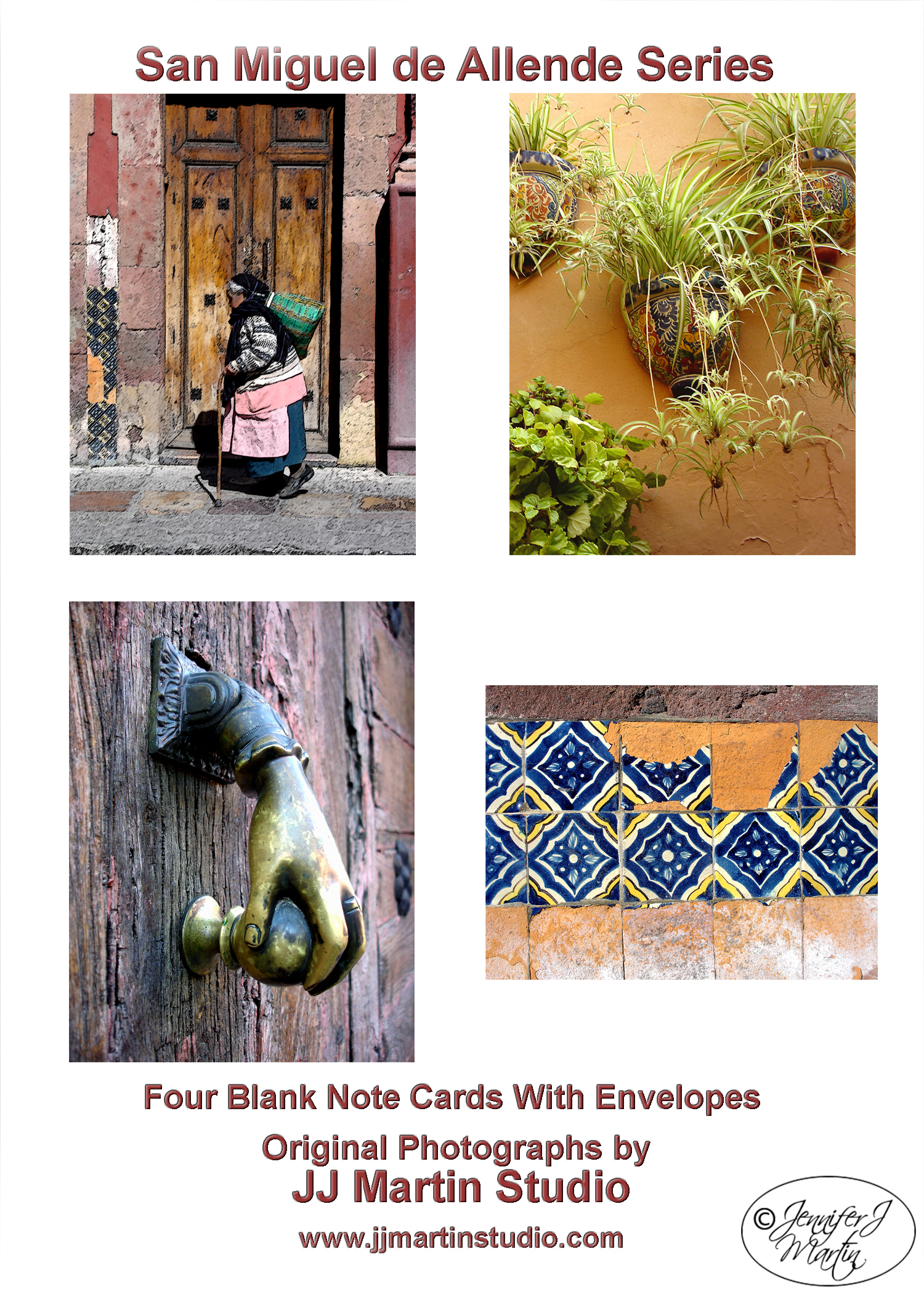 San Miguel de Allende Series (Old Woman Walking) - 4 Card Set