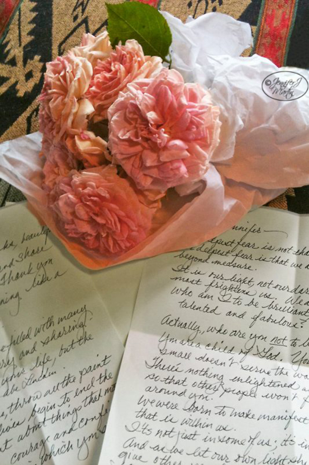 Pink Roses and a Note Print