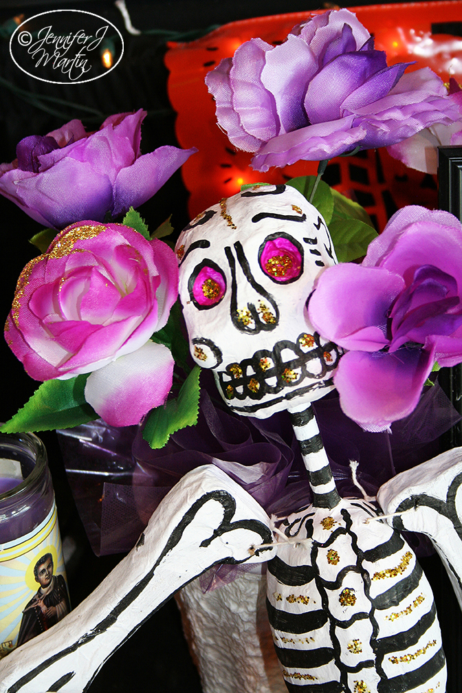 Day of the Dead - La Catrina Purple Flowers