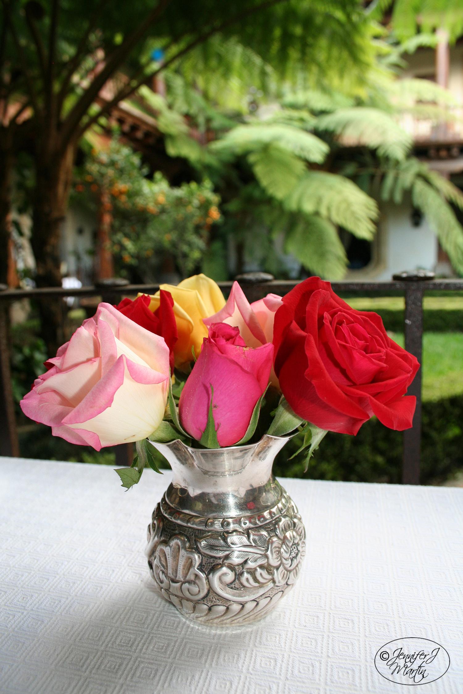 Roses in Silver Vase PRINT