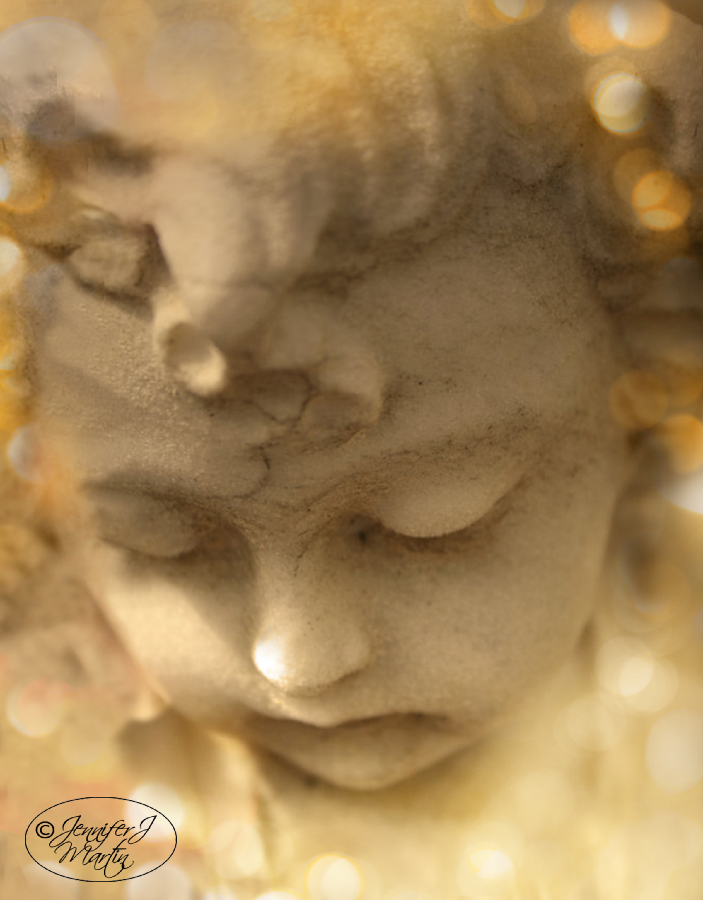 Cherub Gazing Down - Bokeh